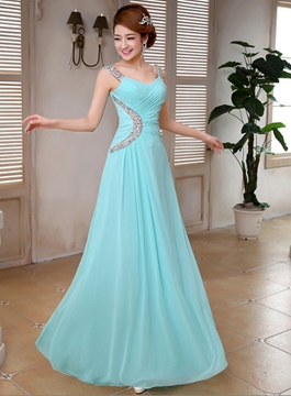 Elegant A-Line Straps Beading Bridesmaid Dress