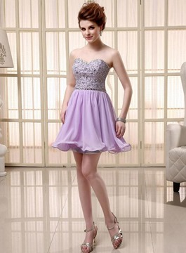Vogue Sweetheart Ruffles Beads Homecoming/Cocktail Dress