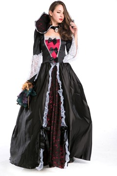 Contrast Color Lace Patchwork Queen Costume