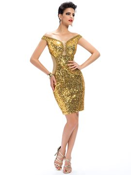 Sexy Shinning Sequins Off-the-Shoulder Column Zipper-Up Cocktail Dress