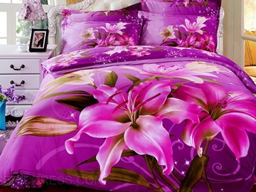 Blooming Purple Rose Fairy 3D Bedding Sets