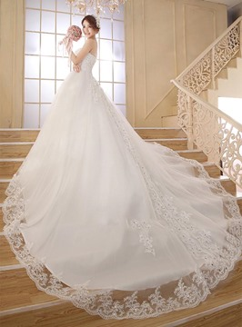 Sweetheart Beading Appliques Cathedral Wedding Dress
