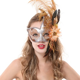 Halloween Chic Sexy Feather Half Face Mask