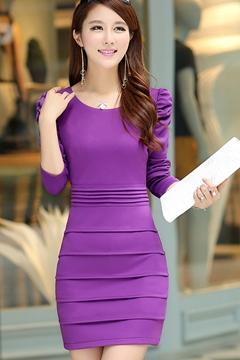 OL Drape Long Sleeves Sheath Dresses