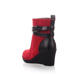 Ericdress Superior Suede Pathwork Buckle Wedge Short Ankle Boot