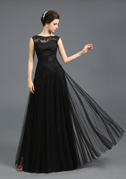 Vintage Scoop Neckline A-Line Appliques Lace-up Floor-Length Evening Dress