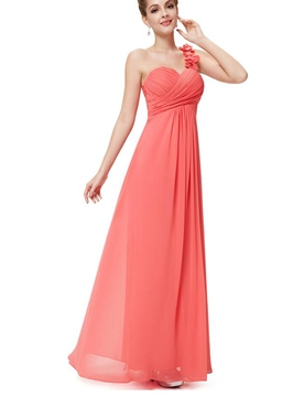 Pretty A-Line One Shoulder Empire Bridesmaid Dress