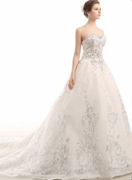 Beading Rhinestone Cathedral Charming Wedding Dress