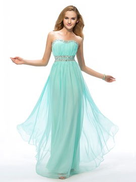 Delicate Sweetheart Beading A-Line Full-Length Prom Dress