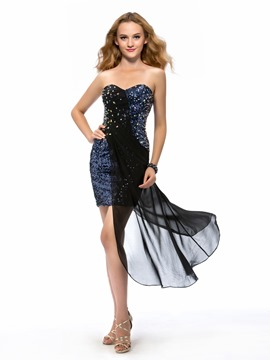 Sparkling Sheath Sweetheart Asymmetric Beading Cocktail Dress