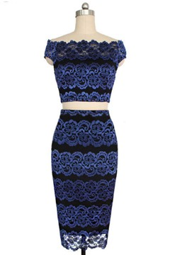 Blue Celebrity Lace Bodycon Crop Top Pencil Skirt Sets
