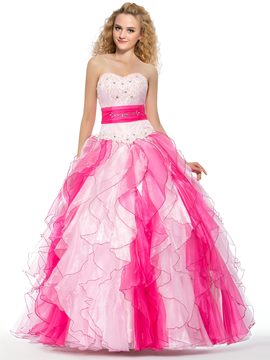 Admirable Ball Gown Cascading Ruffles Quinceanera Dress
