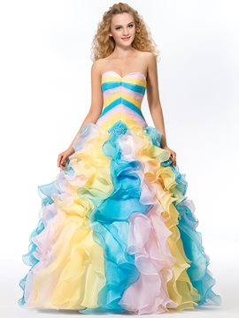 Colorful A-line Sweetheart Full-Length Quinceanera Dress