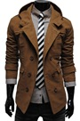 Ericdress Brown Lapel Double-Breasted Men's Overcoat