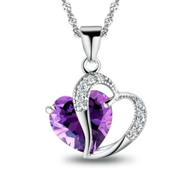 Sweet Heart to Heart Amethyst Sterling Silver Necklace