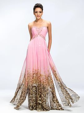 Pretty A-Line Pattern Print Front Split Prom Dress