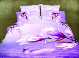 Purple Orchid Print 4-Piece Cotton Bedding Sets
