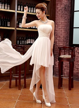 Ericdress Strapless Lace Up Asymmetry Bridesmaid Dress