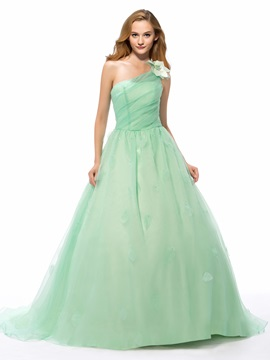 Classy Concise One Shoulder Sweep/Brush Train Ball Gown Dress