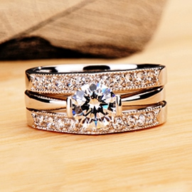 Exquisite Eight Hearts & Eight Arrows Diamond Engagement/Wedding Ring Set