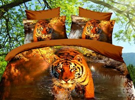 Cool Tiger Print 4-Piece 3D Cotton Bedding Sets