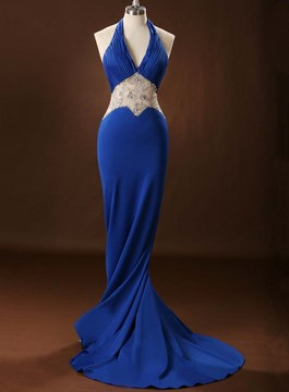 Attractive Mermaid Halter Open Back Crystal Evening Dress