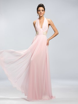 Charming A-Line Backless Pleats Evening Dress