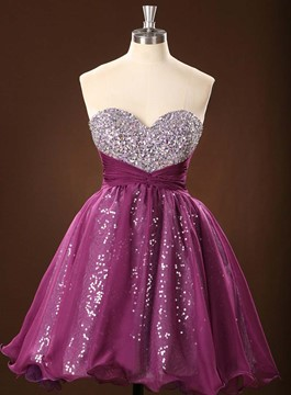 Sparkling A-Line Sweetheart Sequins Pleats Homecoming Dress