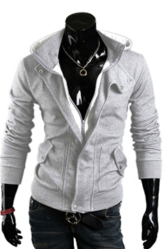 Ericdress Light Gray Lapel Zip-Front Hoodie