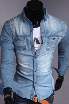 Cool Lapel Long Sleeve Denim Shirt
