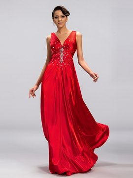 Beaded Sexy Back A-line Long Evening Dress