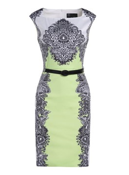 Hot Sale Sheath Belt Pattern Print Little Party Dress