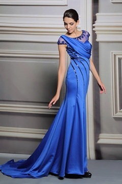 Classy Mermaid Scoop Cap Sleeves Beading Evening Dress