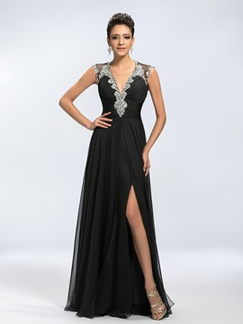 Sexy Vogue Beading V-Neck Split Front Mother of the Bride Dress