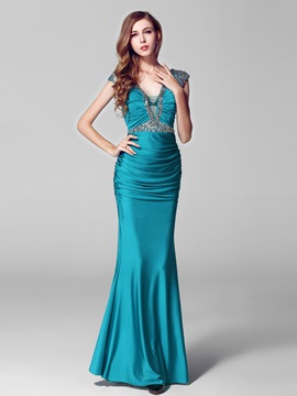 Glamorous Deep V-Neck Beading Floor Length Evening Dress