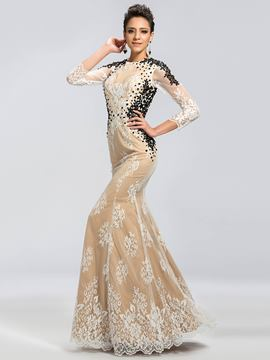 Charming Lace Backless Mermaid Mother of the Bride Dress