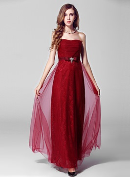 Lastest Sweetheart Crystal Lace Tulle Evening Dress
