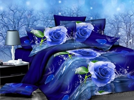 Mysterious Blue Rose Print 4-Piece Polyester Duvet Cover Sets