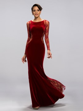Classy Mermaid Jewel Lacey Long Sleeves Evening Dress