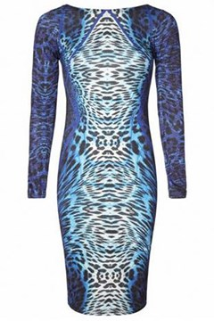Vogue Celebrity Blue Leopard Dresses