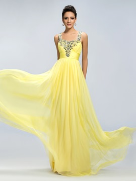 Charming Beadings Straps A-Line Floor Length Prom Dress