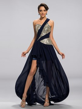 Vogueable A-line One-shoulder Sequined High-Low Evening Dress