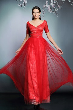 Sweetheart Neckline Sleeves Beaded A-Line Floor Length Evening Dress