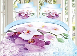 Blue Cotton Purple Petal Print 4-Piece 3d Bedding Sets