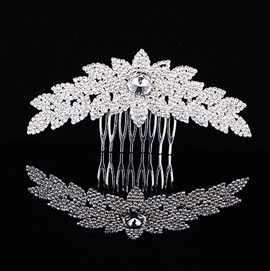 Luxurious Euro-america Floral Shaped Alloy with Rhinestone Wedding Comb / Tiara