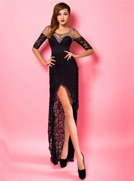 Fantastic Half Sleeve Front Split Lacey Evening Dress