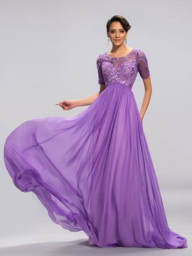 Latest A-Line Short Sleeves Open Back Beading Evening Dress