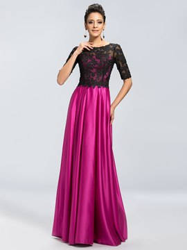 Charming Half Sleeves Appliques Scoop Neck Mother of the Bride Dresses