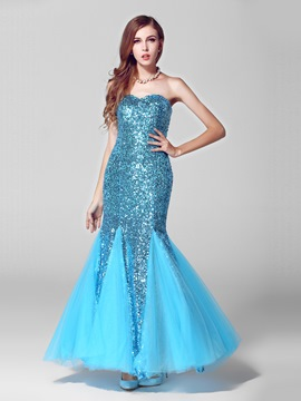 Sweetheart Neckline Strapless Beading Mermaid Evening Dress