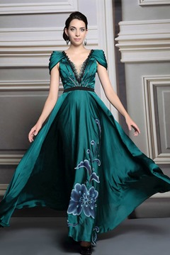 Classy A-line V-Neck Cap Sleeves Lace Evening Dress